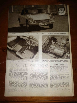 Rare Honda S600 Original Magazine Article